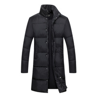 Fashion Men Parka Jacket Upscale Winter Coat Slim Cotton Coatume Casual Trench Coat Male Pure Color