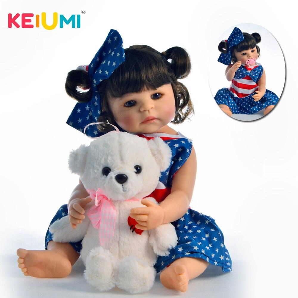 """Oyuncaklar ve Hobi Ürünleri'ten Bebekler'de KEIUMI Etnik Yeniden Doğmuş Boneca 55 cm Silikon Tam Vücut Reborn Bebekler Vinil Bukleler Ile Gerçekçi 22 """"Bebek Kız Oyuncak çocuklar Sürpriz için'da  Grup 1"""