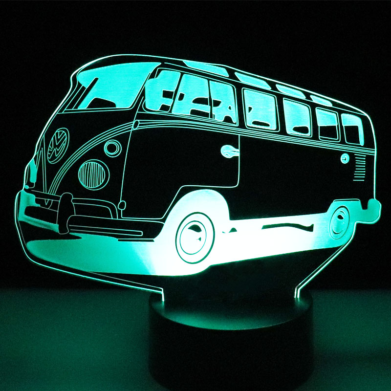 3D LED Night Light Colorful Autobus Bus Car With 7 Colors Light For Home Decoration Lamp Amazing Visualization Optical Illusion