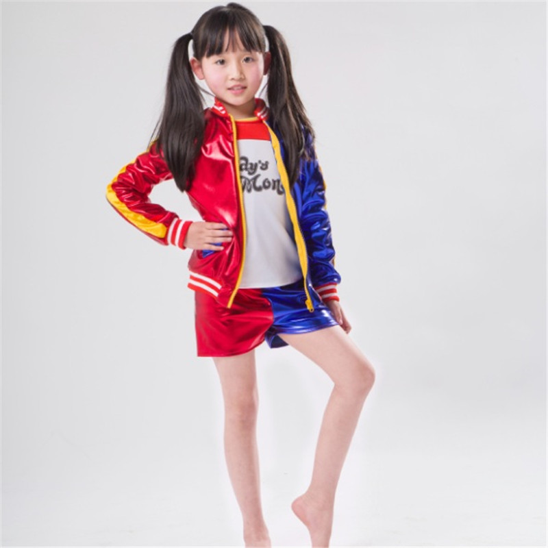 Takerlama Kids Girls Joker Suicide Squad Harley Quinn Cosplay Jacket Suit Outfit Full Set Halloween Children Gift Jacket Costume