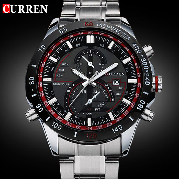 2018 CURREN 8149 Luxury brand sports Watch men Quartz Watches Auto Date Dress wristwatch military watches man full steel watch