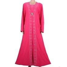 Islamic Clothing for Women Muslim Abaya Dress Beading Design Modest Jilbabs and Abayas Kaftan Dress Rose red 55X1090-1