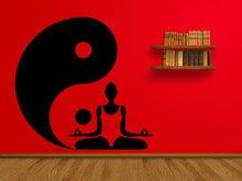 Buddha Yoga Studio Wall Decal Yin Yang Pattern Lotus Pose Stickers Vinyl Modern Design Home Decor Art Mural Removable SY87