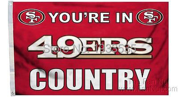 San Francisco 49ers SF COUNTRY Large Outdoor Flag 3' x 5' NFL MLB Fan Flag Banner brass metal holes Flag