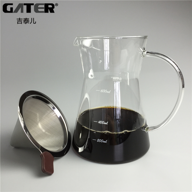 Gater 600ml Gl Kettle Reusable Stainless Steel Coffee Filter Sets Drip Brewing Pot And Tea