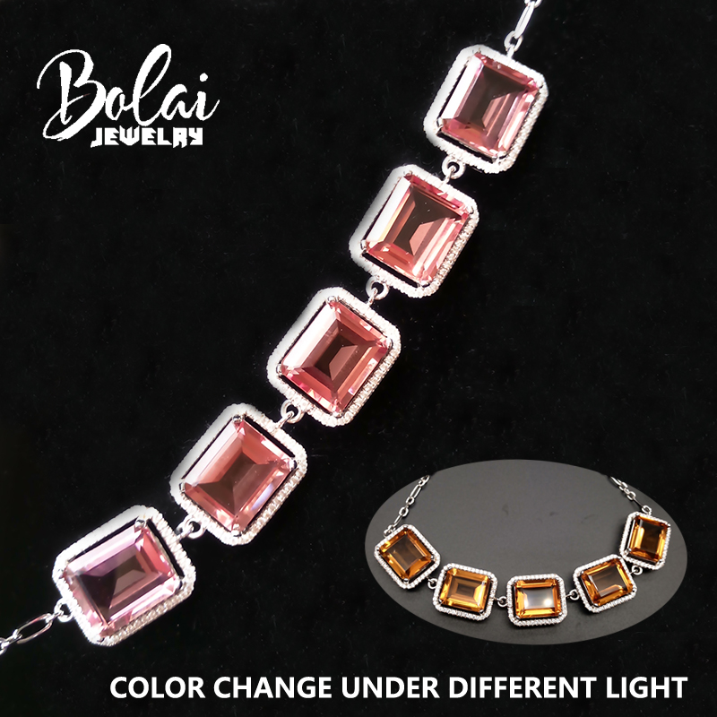 Bolaijewelry amazing color change created zultanite diaspore bracelet 925 sterling silver fine jewelry for women best