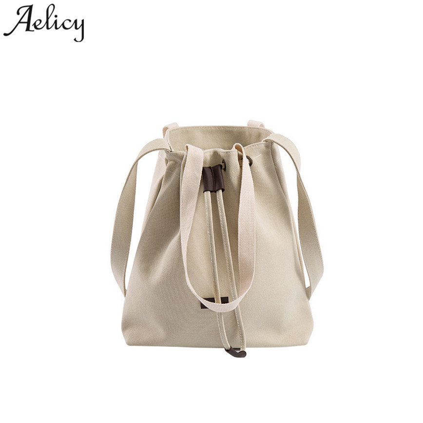 Aelicy Canvas Shoulder Bags Women Large Capacity Bucket Bag For Shopping Drawstring Button Casual Lady Handbags Tote Bag S23 squirrel fashion bucket canvas girls cross body shoulder bag vogue pattern brand casual versatile drawstring women handbags