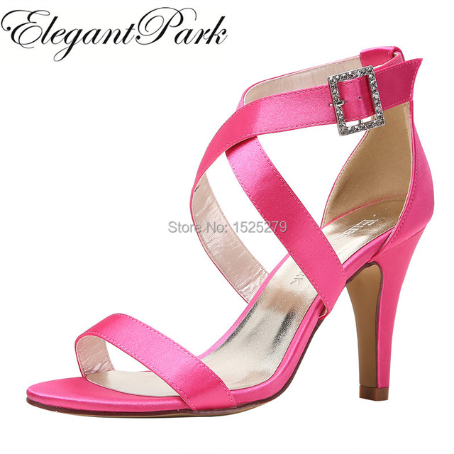 5a50ebe4a6 HP1818 Women Peep Toe High Heel Strappy Sandals Buckle Satin lady bride  Wedding Party Prom Shoes Black Ivory Navy Blue Pink Red
