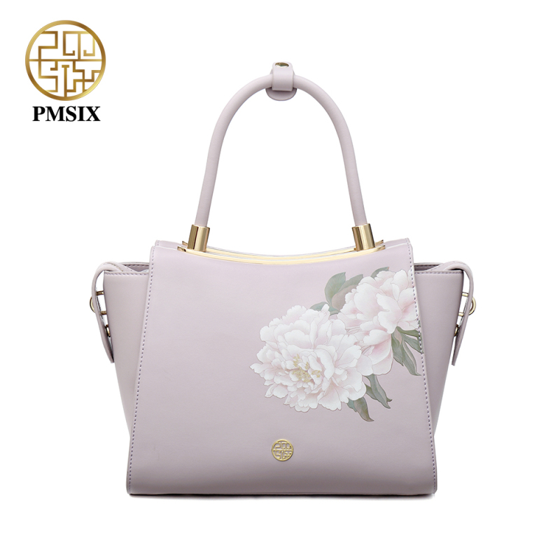 Pmsix ladies' Split leather handbag Pink Shoulder Bag Closure Types Zipper tote High quality Messenger Bag for women P120102 2017 new elegant handbag for women high quality split leather female tote bags stylish red black gray ladies messenger bag