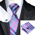 SN-467 Темно-Серый Розовый Голубой Плед Галстук Шуры Запонки Наборы мужская 100% Шелковые Галстуки для мужчин Формальной Свадьбы Партии Жениха