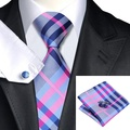 SN-467 Darkgray Rosa Xadrez Azul Tie Hanky Abotoaduras Define 100% Gravatas De Seda dos homens para homens Casamento Formal Do Partido Do Noivo