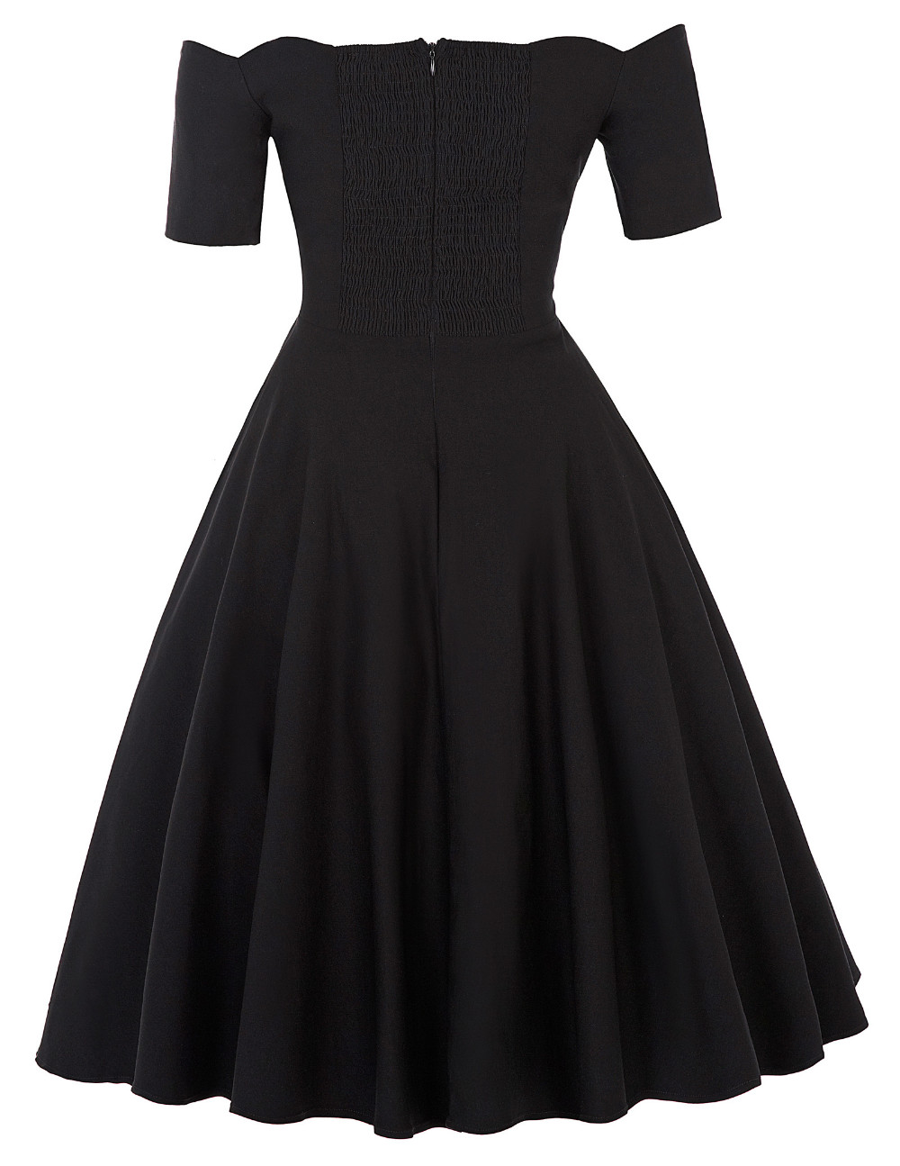 Belle Poque 17 Women Dress Robe Vintage Off Shoulder Black Summer Dress Jurken 1950s 60s Retro Rockabilly Swing Party Dresses 14