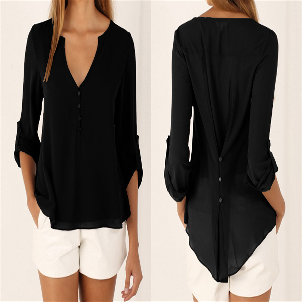Plus Size M-5XL V-neck Chiffon Blouse Womens Tops Fashion 2018 Women Summer Loose Long Sleeves Solid Color Office Tulle Shirt 2