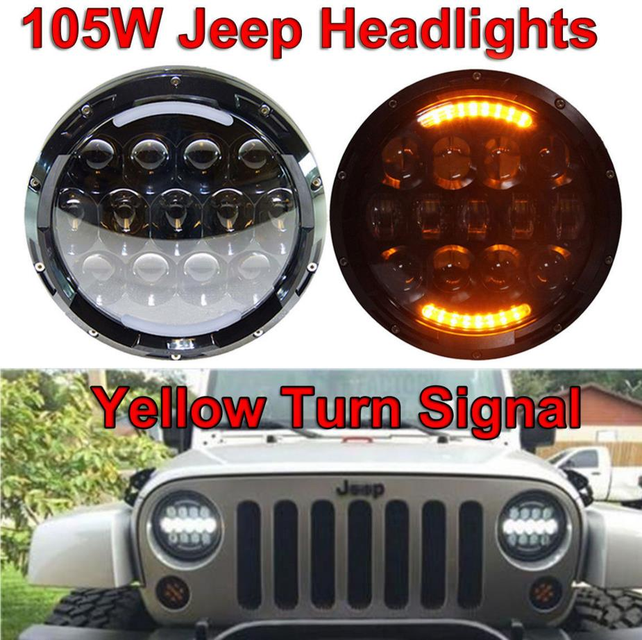 Super bright 7 inch high low beam headlight with halo angel eye ring for wrangler