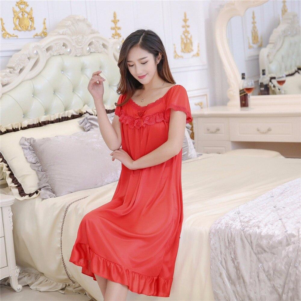 2019 Hot Sale Plus Size 2XL New Sexy Silk Nightgowns Women Casual Chemise Nightie Nightwear Lingerie Nightdress Sleepwear Dress