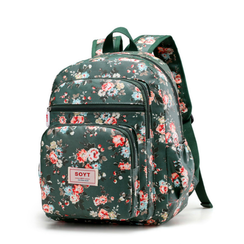New Women School Backpack Waterproof Nylon Bag Lady Women's Backpacks Female Fashion Floral Bag Flowers Color printing 8 colors