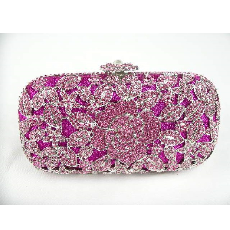 ФОТО A6158PK PINK crystal Rose Floral flower Lady fashion Bridal Party Night hollow Metal Evening purse Handbag case box clutch bag