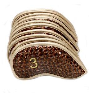 Image 3 - Kluby golfowe żelaza headcover skóra krokodyla PU headcover iorns chronić headcover 10 sztuk/partia darmowa wysyłka
