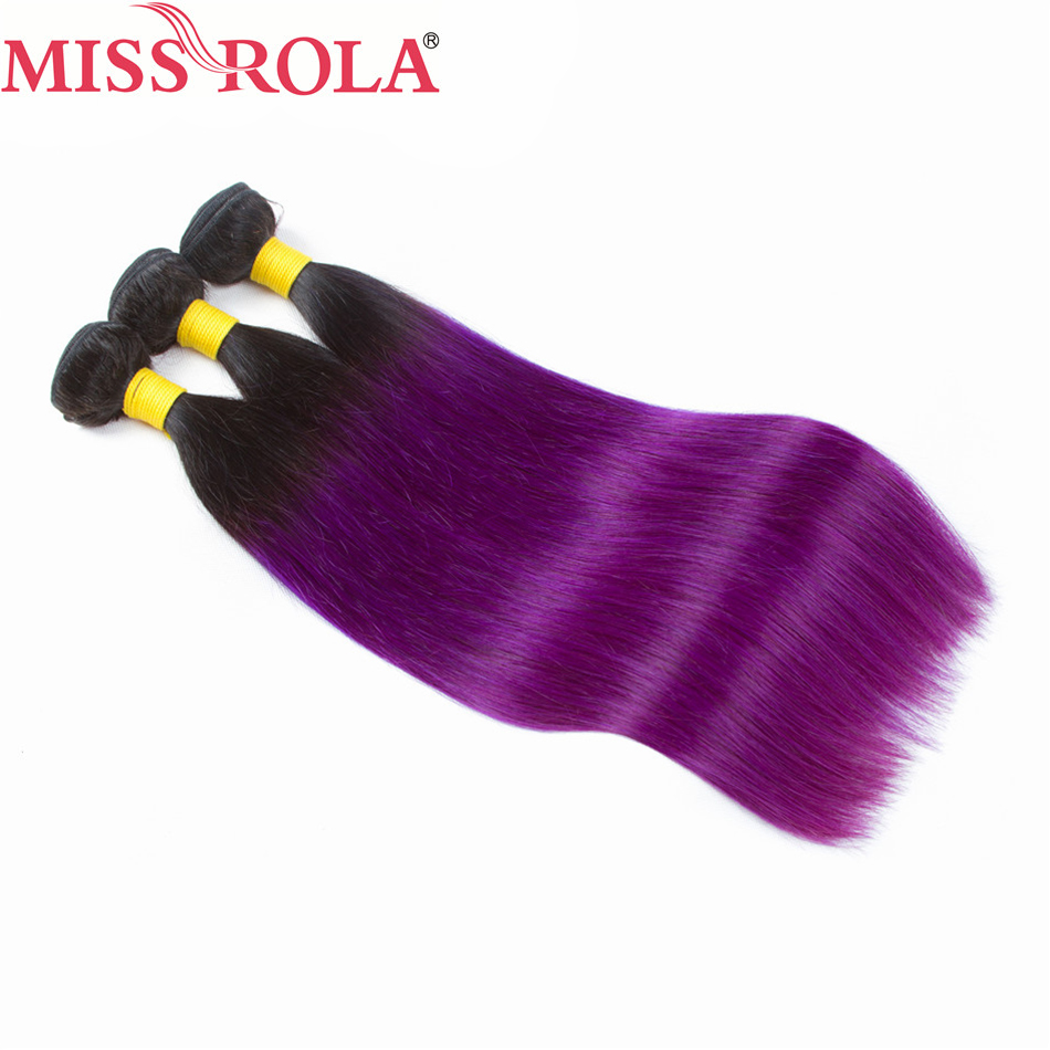 Miss Rola Hair Peruvian Pre-colored Ombre 3 Bundles Straight T1B/PURPLE Color 100% Human Hair Weaving Non-remy Hair Extension