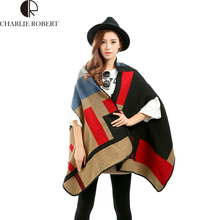 Oversized Sweater Coat 2016 Women's Jacket Plaid Cape Poncho Shawl Women Lady Casaco Chaquetas Mujer Abrigos Mujer