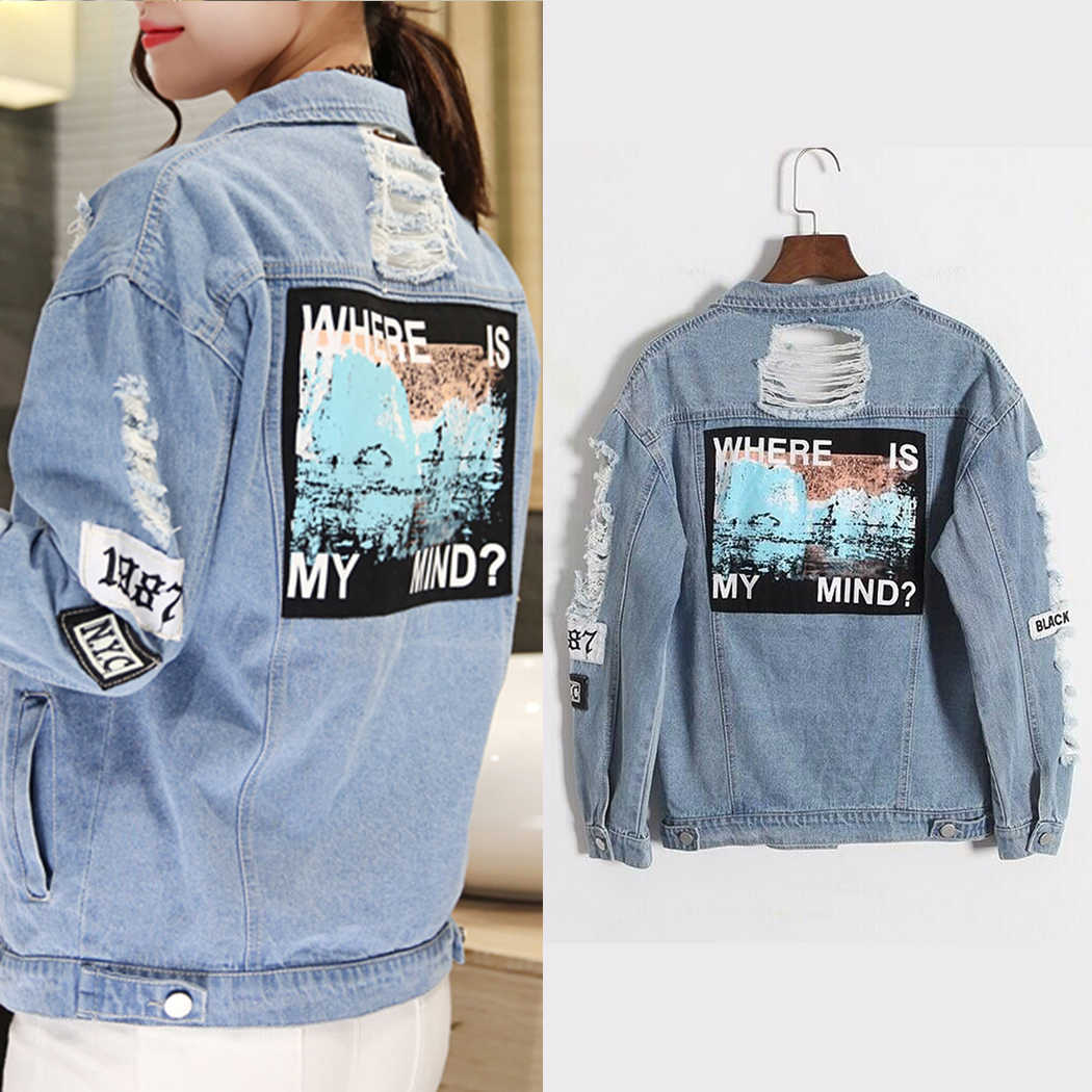 1d49fc8adc5 Vintage Retro Denim Jacket Women Plus Size Embroidery Letter Bomber Jackets  Blue Ripped Distressed Jean Coats