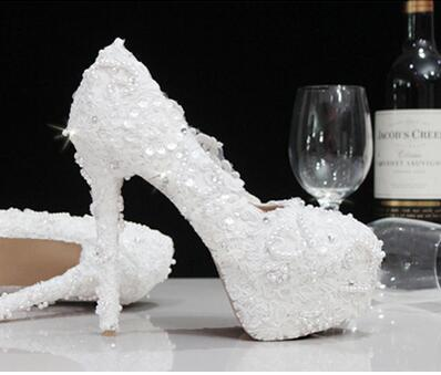 ФОТО Luxury lace wedding shoes TG507 pearl diamond high-heeled super quality handmade round toes bridal banquet shoes