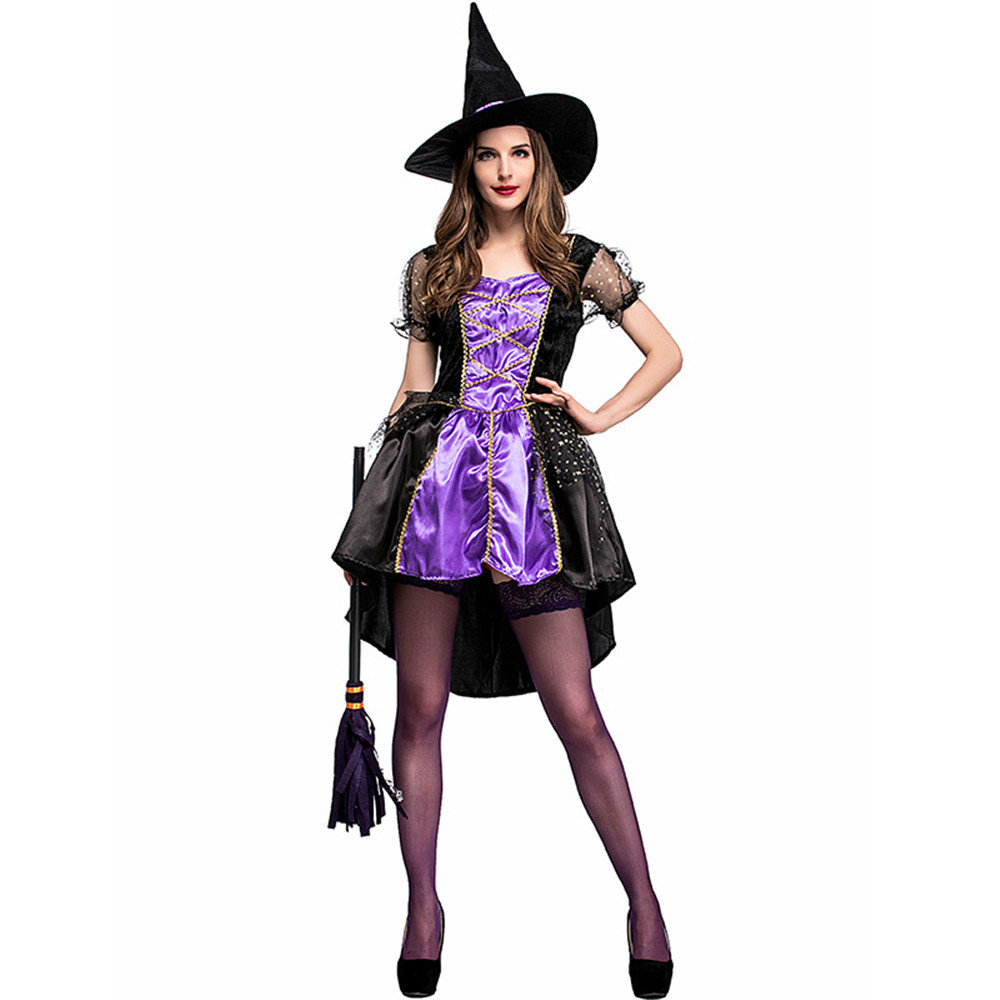 Adult Crafty Vixen Witch Costume Glamorous Purple Lace Up ...