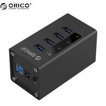 ORICO Nuevo Diseño De Aluminio HUB de 4 Puertos Con fuente de Alimentación USB 3.0 Para El Ordenador Portátil-Negro (A3H4-BK)