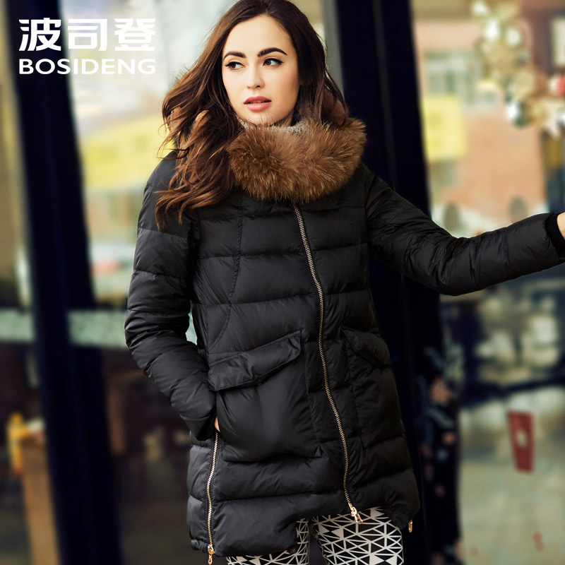 BOSIDENG women's clothing winter thick down coat female medium-long down jacket big fur collar big collar wide-waisted B1501136
