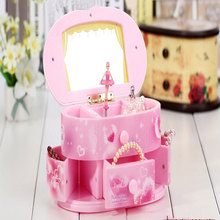 Music Box Makeup Jewelry Storage Pink Ballet Doll Portable Bedroom Decoration Lovely Gift for Girl