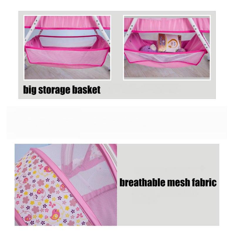 Lit bébé berceau lit avec moustiquaire, cadre en acier pliable bébé cirb, portable nouveau-né bébé lit à bascule avec 4 roues verrouillables - 6
