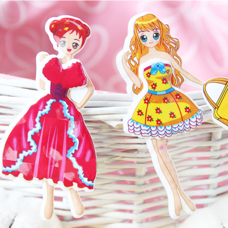 Cute DIY Children Stickers Lovely Girl 3D Cartoon Stickers Kawaii Sticker  Toys Dress up Girl Changing Clothes Kids Creative Gift