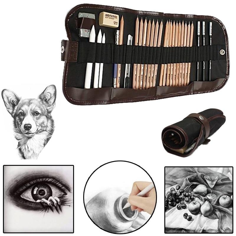 29pcs/set Sketch Tool Kits Wood Pencils Charcoal Extender Paper Pen Cutter Eraser Sketch Drawing Set