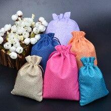 100 Uds. 9x12cm bolsas de yute arpillera boda cumpleaños caja para dulces de fiesta bolsas de regalo de Navidad y Halloween caja de embalaje bolsas