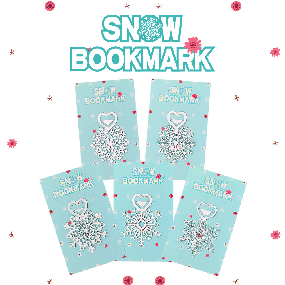 Metal Flower Bookmarks Stainless Steel Snowflake Book Page Marker As Christmas Gifts 30pcs/lot