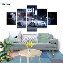 лучшая цена Canvas Oil Painting Home Decorative 5 Panel White Car HD Modular Picture Framework Wall Art Prints Poster For Living Room