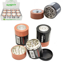 3parts Herb Grinder Weed Tobacco Smoke Water Pipe Glass Bong Battery Shape