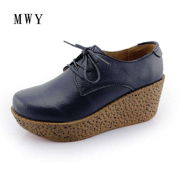 MWY Moda Platformu Kadın Ayakkabı Hakiki Deri Platformu Kama Topuklu Tanışma rahat ayakkabılar Kadın Artırmak Marka Feminino Sapato