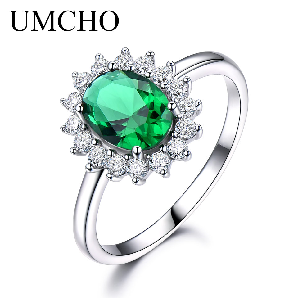 UMCHO Emerald Ædelsten Ringe For Kvinder Prinsesse Diana Ring Solid 925 Sterling Sølv Vintage Engagement Party Gift Fine Smykker