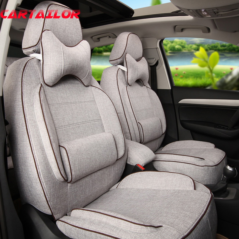 CARTAILOR Front & Rear Cover Seats for Peugeot 307 SW Car Seat Cover 5 Seats Accessories Set Flax Seat Cushion Covers Protector