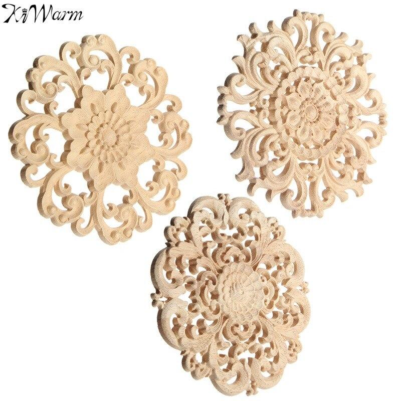 KiWarm On Sale Floral Wood Carved Corner Woodcarving Decal Onlay Applique Decorative Sculpture for Home Furniture Decor 15cm