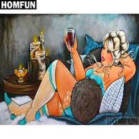 "HOMFUN Full Square/Round Drill 5D DIY Diamond Painting ""Fat woman"" Embroidery Cross Stitch 3D Home Decor Gift A06072"