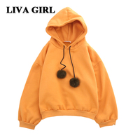 Liva Gir Women Hoodies Winter Long Sleeve Sweatshirt Women Hoodies 2017 Cotton Solid Pullovers Thick Warm