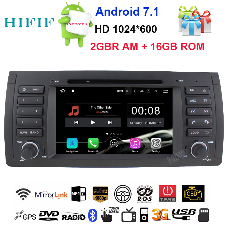 HIFIF Free shipping 7'' Android 7.1 Car DVD for BMW E53 E39 X5 with Wifi 3G Quad 1024X600 Bluetooth Radio WIFI Free camera Maps