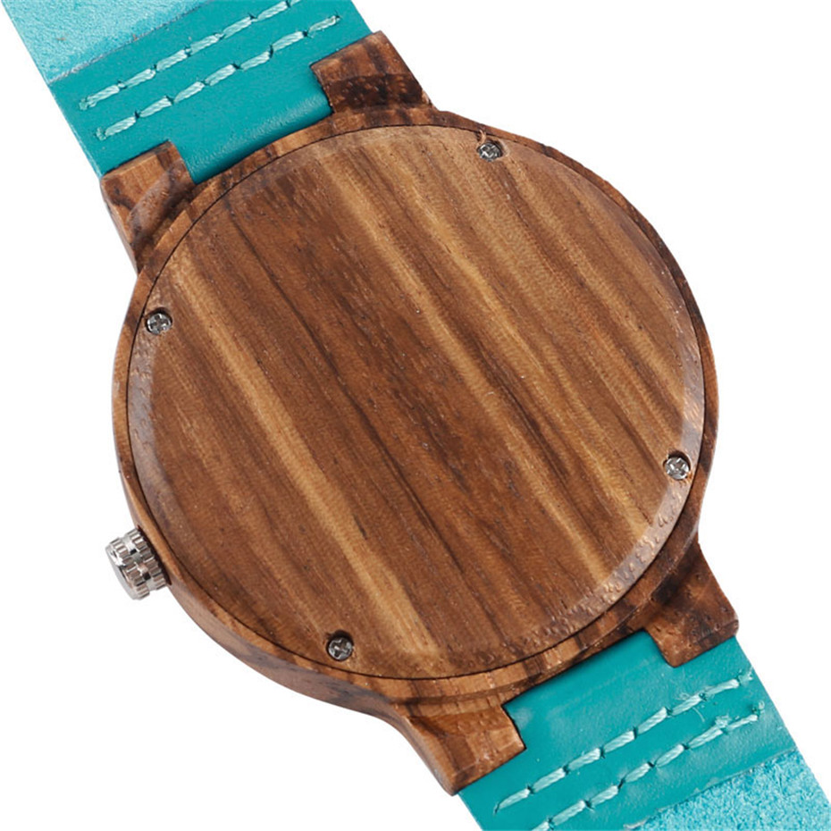 Fashion Blue Wood Quartz Watch Analog Genuine Leather Band Handmade Bamboo Wooden Wristwatch for Men Women Creative Gift Sport Clock (7)