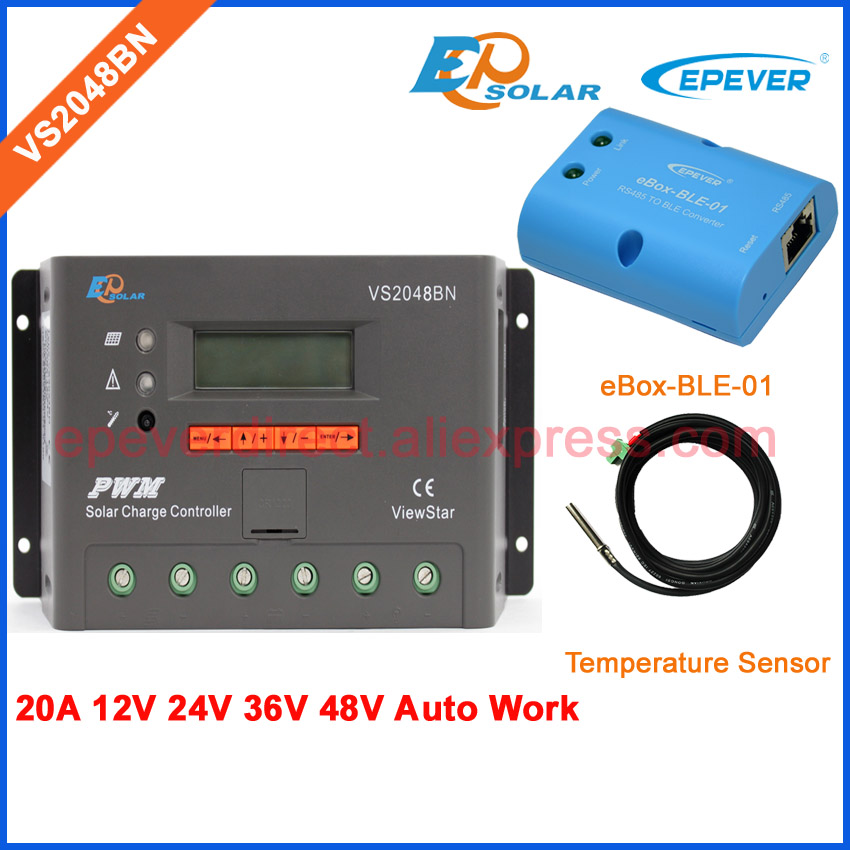 New ViewStar series PWM controller LCD display with temperature sensor VS2048BN Solar portable controller charger BLE BOX 20A pwm new solar controller viewstar series vs2024bn with usb communication cable 20a 12v 24v wifi connect app box adapter