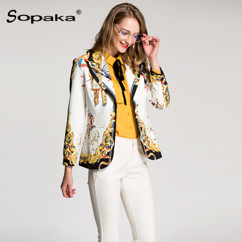 2018 Spring White Floral Print Full Sleeve Casual Tops High Quality Designer Women Blazer