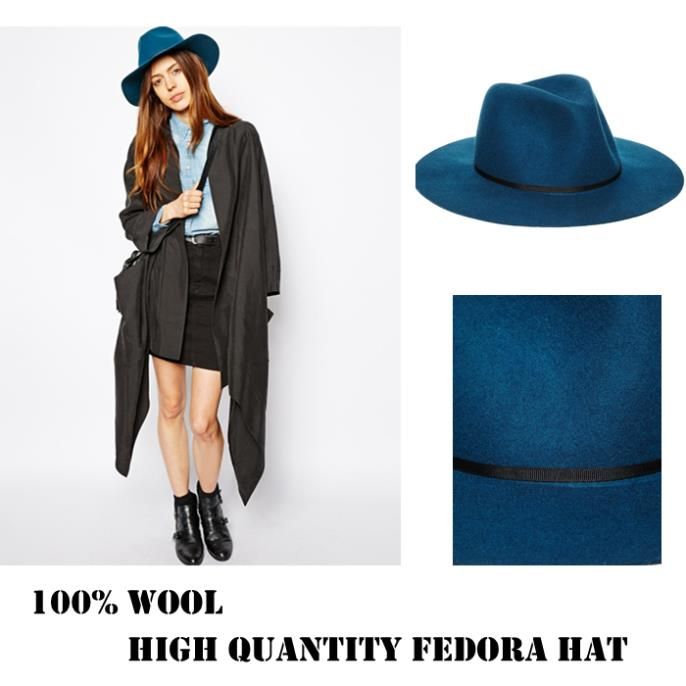 New Fashion Autumn Winter 100% Wool Women s Blue Fedora hats Floppy Trilby  felted Sun hat Ladies Panama Cap Size 56 58CM-in Fedoras from Apparel  Accessories ... e888011b2