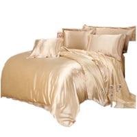 Luxury Satin Silk Bedding Sets Duvet Cover Flat Fitted Sheet Twin Full Queen King size 4pcs/6pcs linen set Black 100%golden