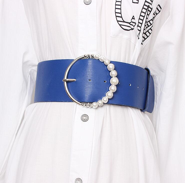 Women's Runway Fashion Pearl Buckle Pu Leather Cummerbunds Female Dress Corsets Waistband Belts Decoration Wide Belt R1669
